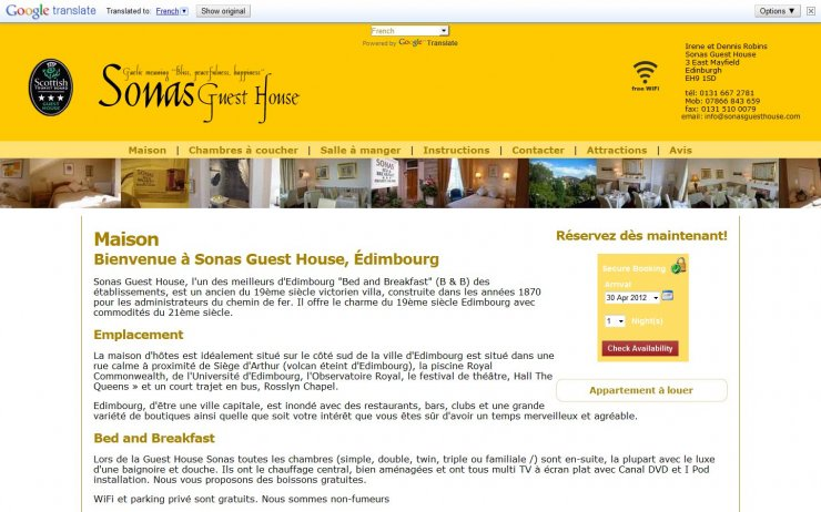 Translation Example | Sonas Guest House by opcs